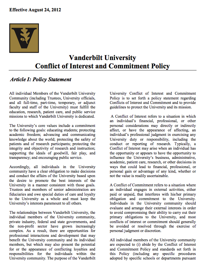 VU Conflict of Interest Policy | Center for Technology Transfer