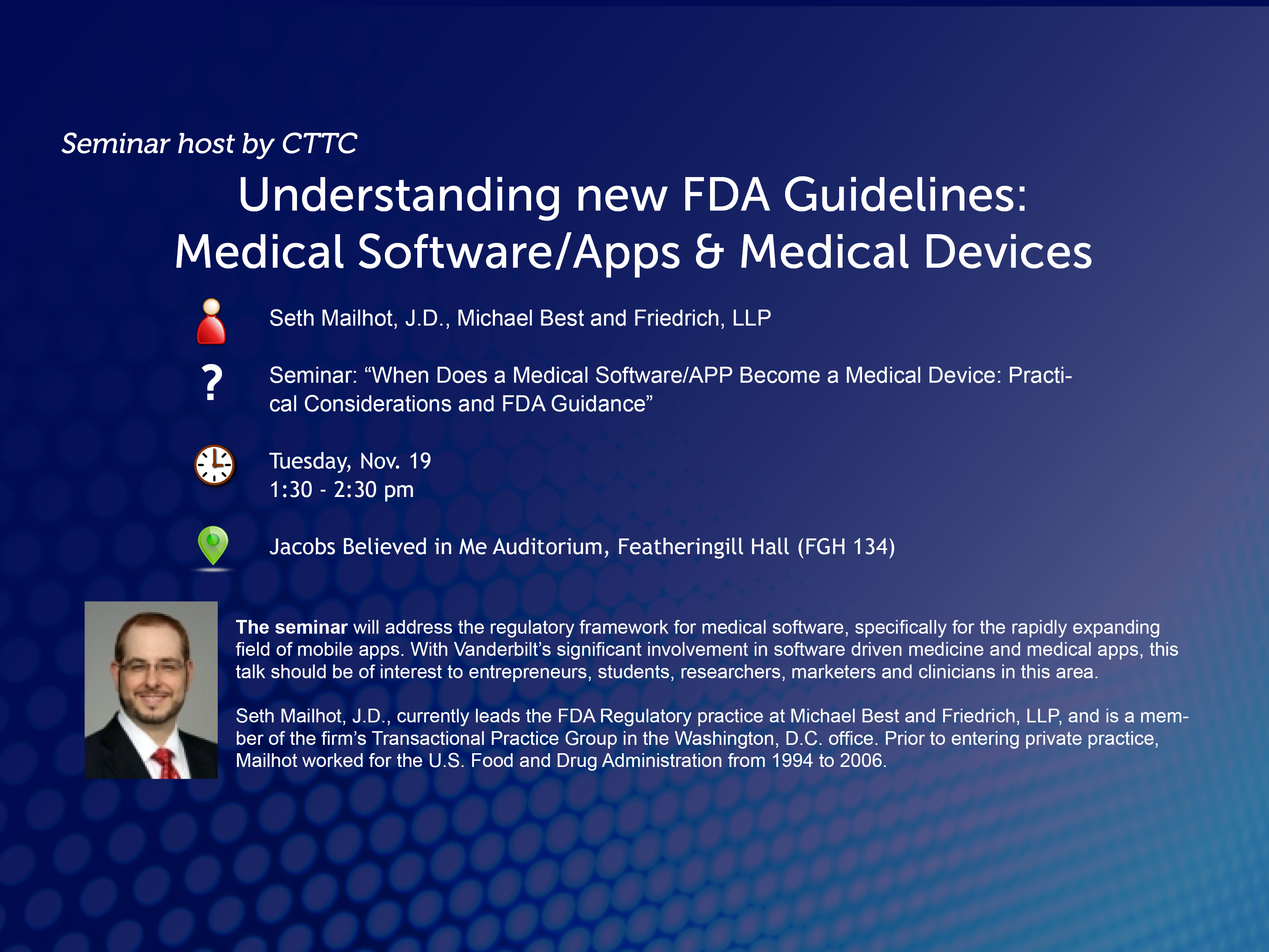 CTTC Seminar: FDA Guidance on Medical Software, Apps and